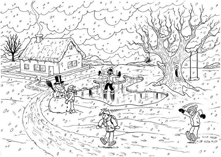 Disegni maestra mary for Paesaggio invernale disegno
