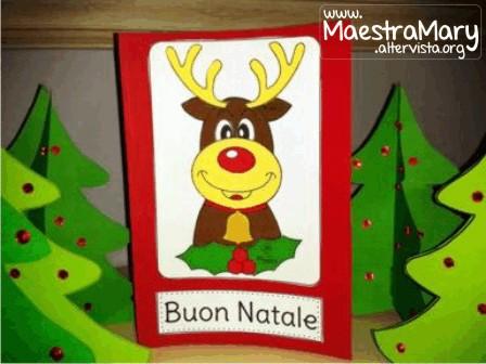Lavoretti Biglietti Di Natale.Biglietto Di Natale Con Renna Maestra Mary