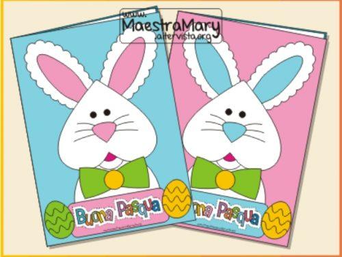 Biglietto con coniglietto – lavoretto di Pasqua da ritagliare