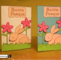 Biglietto con coniglietto e fiori – lavoretto di Pasqua da ritagliare