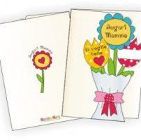 Biglietto per la mamma con mazzolino di fiori