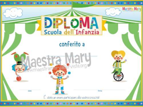 Diploma finale per la scuola dell'infanzia