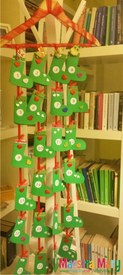 Calendario Avvento Pinterest.Calendario Dell Avvento Con Calze Di Natale