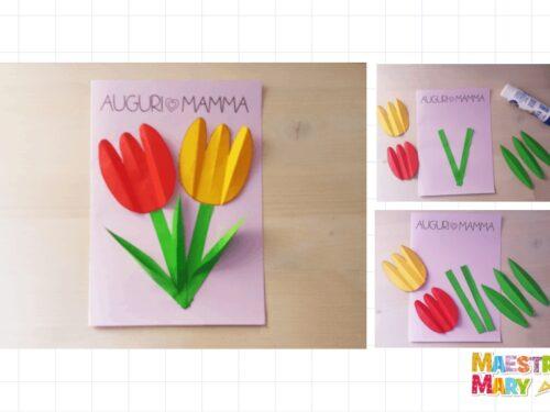 Biglietto con tulipani per la mamma