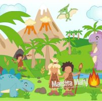 Poster sulla Preistoria con dinosauri