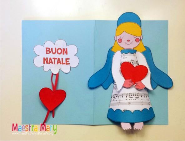 Biglietto di natale con angelo maestra mary for Lavoretti di natale maestra mary