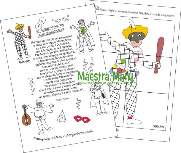 Schede didattiche di carnevale maestra mary for Schede carnevale da colorare