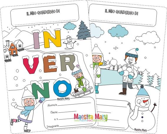 Copertine inverno per quaderni di scuola primaria for Maestra mary inverno addobbi