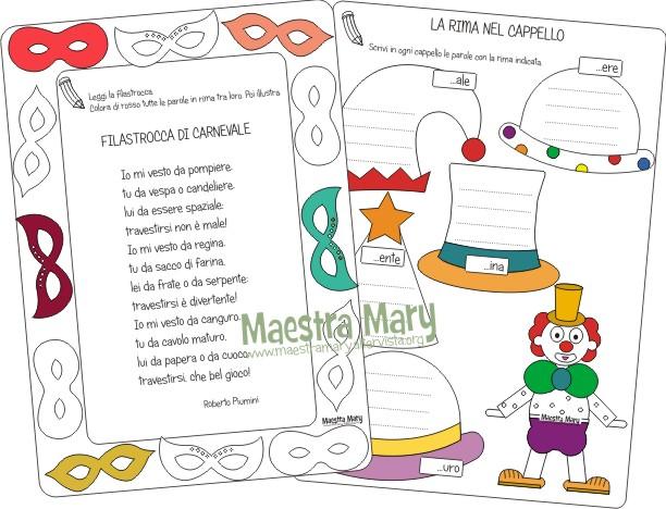 schede di carnevale scuola primaria
