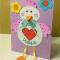 Biglietto di Pasqua con gallina e pulcino