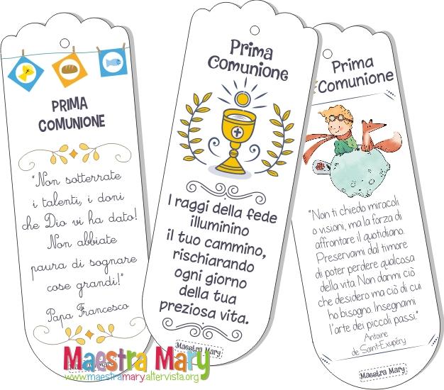 Segnalibri Per La Prima Comunione Maestra Mary