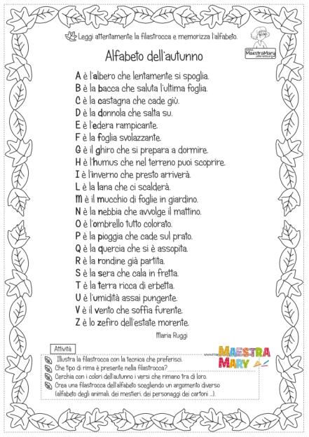 alfabeto autunno
