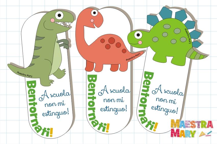 segnalibri con dinosauri