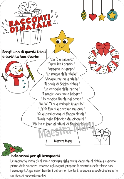 Maestra Mary Natale.Racconti Di Natale Laboratorio Di Scrittura Maestra Mary