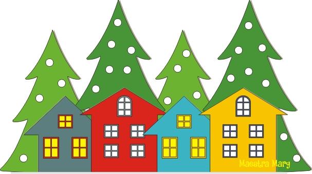 Decorazioni Di Natale Con Alberi E Casette Maestra Mary