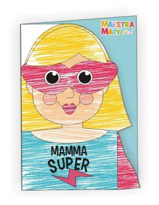 biglietto mamma super da colorare