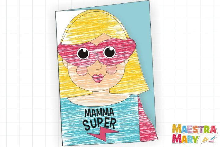biglietto da colorare mamma