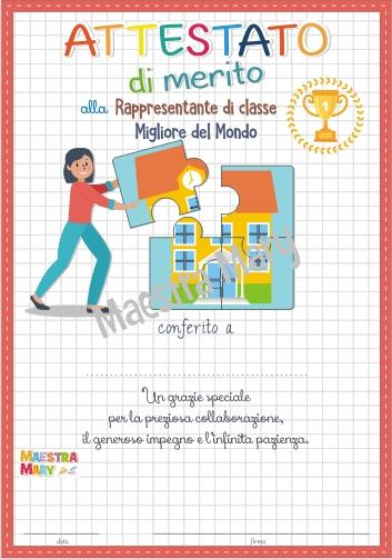 attestato rappresentante di classe